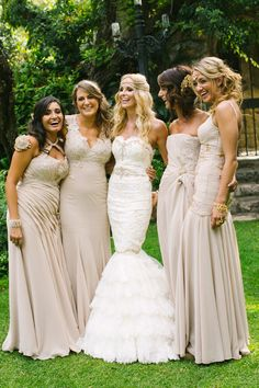 Love these mismatched tan bridesmaids dresses | Photos by Adam Alex