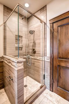 Picture Collection Website Gray vein cut tile and linear glass mosaic tile give this shower a contemporary look