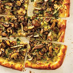 Four-Mushroom Pesto Pizza | This was fantastic!  Follow the recipe as is.  We were skeptical at first, but the pizza crust turned out crisp and delicious.  We couldn't find the fresh exotic mushroom blend at the grocery store, so we just made our own with what we could get.