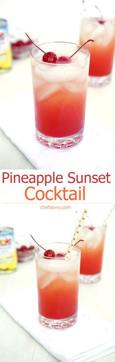 Pineapple Sunset Cocktail - - Pineapple Sunset Cocktail Cocktails A fruity thirst quenching summer cocktail. Made with pineapple juice, vodka, and grenadine. Takes less than 5 minutes to make! Non Alcoholic Drinks, Bar Drinks, Cocktail Drinks, Cocktail Recipes, Margarita Recipes, Fruity Cocktails, Cocktail Ideas, Refreshing Drinks, Yummy Drinks