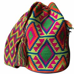 $90.00 Retail Price LARGE Mochila Wayuu Bag | RETAIL + WHOLESALE | Handmade and Fair Trade Wayuu Mochila Bags LOMBIA & CO. | www.LombiaAndCo.com Tapestry Crochet Patterns, Mini Craft, Tapestry Bag, Poufs, Crochet Bags, Retail Price, Fair Trade, Knitting Projects, Women Empowerment