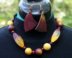 """""""Casablanca Prayer Bead"""" necklace and earrings.  Polymer clay, wood, and metal beads."""