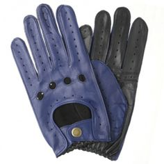 DENTS MEN'S LEATHER TWO TONE DRIVING GLOVES - ROYAL BLUE/BLACK