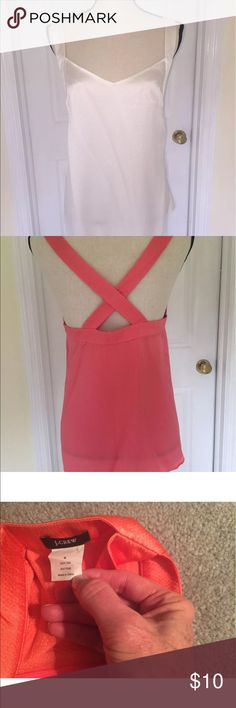 J Crew Hammered Silk Camisoles ivory Ivory color; coral top shown for detailed measurements and back details J Crew Tops Camisoles