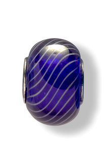 Glass Beads (Dark Blue/White Stripes)