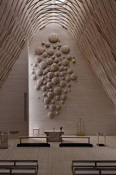 Lassila Hirvilammi Architects – Kuokkala Church, Finland. Altar piece by Pasi Karjula