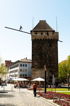 Schelztor Gate Tower, Esslingen, Baden-Württemberg, Germany - the tower, build in the 13th century, is today home to the best ice-cream shop in town. #pinyourcity