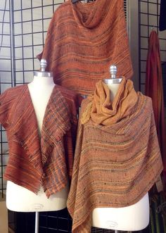 Poncho wraps and cascade vest in mixed fibers of cotton, rayon and flax blend. All from the same warp.