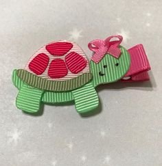 Spring Summer Green Turtle  Ribbon Sculpture Art Hair Bow Hair