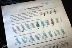 Here's a free music worksheet for learning all about treble clef and bass clef!  Students will trace dotted lines to learn how to draw each clef.  There's also a couple of interesting illustrations showing the development of the clefs over the centuries. Students will find this bit of history interesting and memorable for remembering their landmark notes Treble G and Bass F!