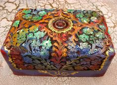 Medium Painted  Carved with Floral Elements in Exotic by Herina