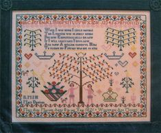 Samplers Revisited MARY ANN MOSSOM 1821 Cross Stitch Chart~ reproduction sampler #SamplersRevisited