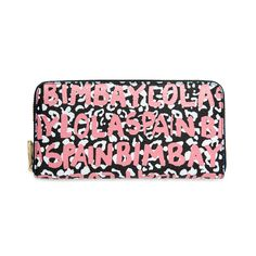 BIMBA Y LOLA zip wallet with pink letters against a black background. From the Graffiti Collection, which combines animal prints with coloured letters