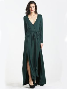 Vestido largo manga larga-verde oscuro