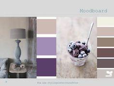 Moodboard interieuradvies woonkamer, paars & naturel tinten - Via Lin Styling & Interieuradvies