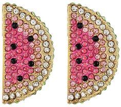 Betsey Johnson Ocean Drive Pink Watermelon Button Earrings
