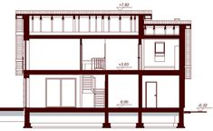 Przekrój DN KENDRA XS CE Shelving, Divider, Floor Plans, Furniture, Home Decor, Houses, Projects, Build House, Shelves