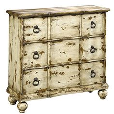 Best Home Hand-painted Distressed Antique Ivory Chest Dresser for Bedroom