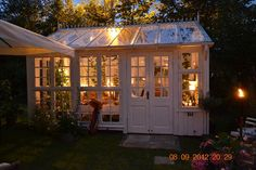 definitely going to build a magical little greenhouse in our someday-backyard Outdoor Rooms, Outdoor Gardens, Outdoor Living, Small Gardens, Greenhouse Shed, Greenhouse Gardening, Dream Garden, Home And Garden, Gazebos