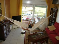 Ranchos Hammock Large made of unbleached cotton - As with all of our quality 'Large' hammocks, it has 48 tension ropes at each side. : Quality Hammocks and Hanging Chairs, Marañon World of Hammocks
