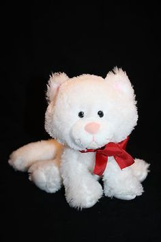 "Russ White Cat Kitten Red Ribbon Bow Sits 7"" Plush Stuffed Animal Toy Pink Nose"
