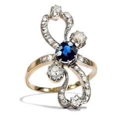 Römische Elegien - Großer Jugendstil-Ring mit Saphir & Diamanten, Italien um 1900 von Hofer Antikschmuck aus Berlin // #hoferantikschmuck #antik #schmuck #antique #jewellery #jewelry
