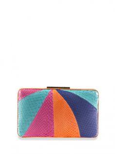 The ELMYRA (PYTHON) from Cashhimi is a cigarette box clutch with a decorative logo clasp closure.  Chic and elegant, and great for summer. ____________________________ https://shops.zindigo.com/sharer.php/0/0/3729/8099