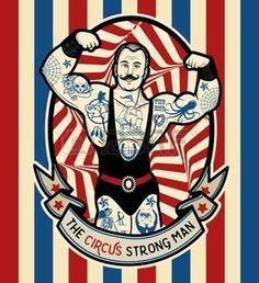 Der starke Mann. Vektor-Illustration. Illustration von Zirkus Sterne. …