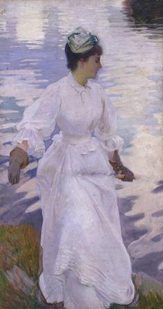 John Singer Sargent 'Lady Fishing - Mrs Ormond', 1889  Impressionists infliencies. Monet?