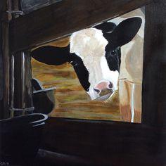 Curious cow, acryl painting