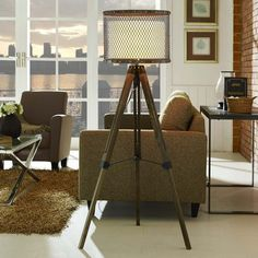 Fortune Floor Lamp Solid Steel, Iron & Brass Nail Trim Pine Wood Easel-Style Tripod Base Fabric Drum Shade One Bulb Not Included UL Listed and Approved Assembly Required Contemporary Floor Lamps, Modern Contemporary, Free Standing Lamps, Silver Floor Lamp, Star Wars, Rustic Lamps, Lamp Shade Store, Pipe Lamp, Transitional Decor