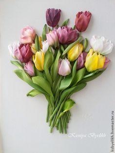 Тюльпаны цветные. Вышивка шелковыми лентами тонированными и окрашенными вручную красками для шелка.