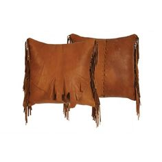 Wooded River Accessory Deerskin Leather with Flap and Fringe Pillow   Wayfair
