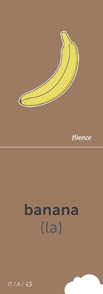 737 best Imparare L Italiano images on Pinterest   Learn italian     Banana  CardFly  flience  food  fruits  italian  education  flashcard