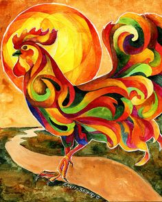 Fancy Feathers Rooster Chicken Art Print Sherry Shipley | eBay
