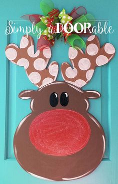 Rudolph Wood Door Hanger by Simply aDOORable. Christmas Door Decor, Wood Door Hanger, Christmas Wreath, Reindeer Door Hanger, Christmas Gift by SimplyaDOORableNC on Etsy Christmas Wood, Christmas Projects, Holiday Crafts, Holiday Fun, Christmas Time, Merry Christmas, Christmas Lights, Christmas Door Decorations, Christmas Wreaths