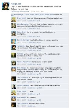 BAHAHAHAHAHAHA!!! Levi knows what's in the basement.<=== the best bit is that Hajime Isyama is the one who said that
