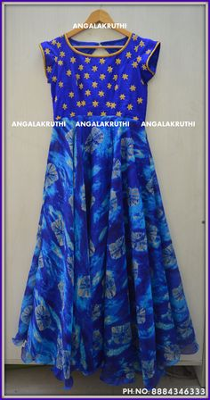 Tradational Gown With Hand Embroidery Designs By Angalakruthi Bangalore Watsapp8884346333