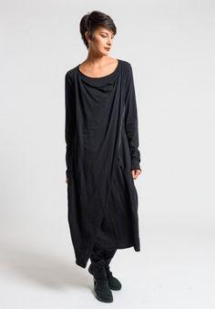 Rundholz Black Label Draped Long Tulip Dress in Black