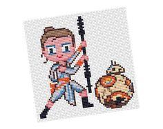 REY AND BB8 #cross #stitch #pattern by POWSTITCH   Craftsy