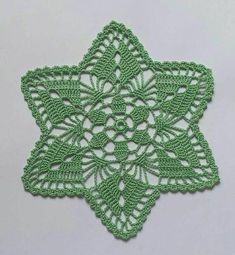 New green handmade crochet doily / Lace doily / Table mat Crochet Lace Edging, Crochet Round, Crochet Home, Filet Crochet, Hand Crochet, Knit Crochet, Crochet Doily Patterns, Crochet Blocks, Crochet Doilies