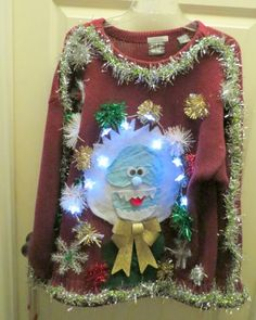 HOLLY JOLLY HAPPY Abominable Snowman  Light UP Ugly Christmas SWEATER MENS XL #TACKYUGLYCHRISTMASSWEATER #Crewneck