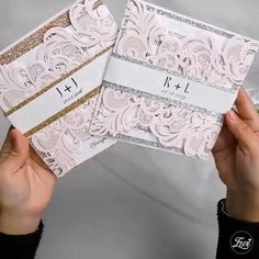 blush pink laser cut wedding invitationDIY with rose gold and silver glitter belly band Pink Wedding Theme, Wedding Themes, Wedding Cards, Diy Wedding, Dream Wedding, Wedding Invitation Video, Laser Cut Wedding Invitations, Wedding Stationery, Reception Card