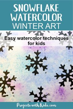 Create stunning snowflake watercolor winter art with simple watercolor techniques that kids of all ages can do and get amazing results! Kids will love exploring watercolors and different techniques to create this winter painting. A beautiful piece of winter decor that would also make a great handmade gift. #winterart #watercolors #snowflakeart #kidsart #projectswithkids