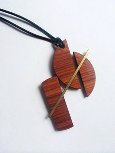 Geometric necklace /reclaimed wood necklace/ wood by SiverLining