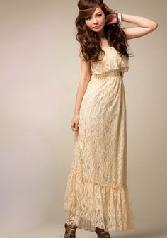 Floral Lace Spaghetti Shoulder Pleated Long Dress - BuyTrends.com