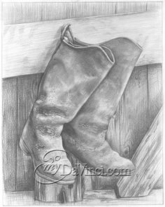 Cowboy Boot Hand Drawn Pencil Sketch Print in a Dark Wood Frame. It's a one of a kind gift! Pencil Sketch Portrait, Pencil Art, Pencil Drawings, Beautiful Pencil Sketches, Easter Art, Dark Wood, Country Life, Art For Sale, Cowboy Boots