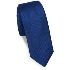 Saks Fifth Avenue Made in Italy Textured Silk Narrow Tie ($40) ❤ liked on Polyvore featuring men's fashion, men's accessories, men's neckwear, ties, mens navy ties, mens ties and men's silk ties