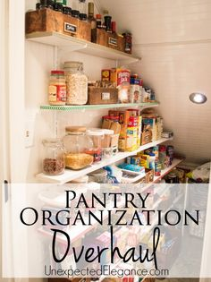 Does your pantry need to be cleaned out? It& a task that most of us put off, but check out this Pantry Organization Overhaul for inspiration and practical ideas to KEEP your pantry clean and organized! Kitchen Organization Pantry, Organization Station, Home Organization Hacks, Kitchen Pantry, Kitchen Hacks, Kitchen Storage, Organizing Ideas, Kitchen Ideas, Organized Kitchen