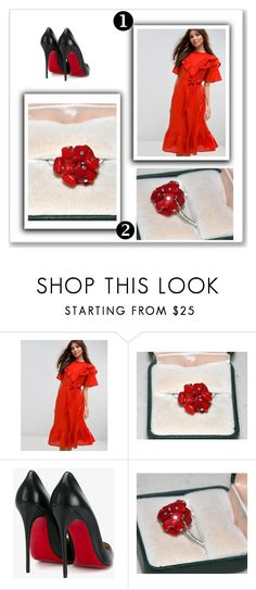 """""""Coral Ring, Cocktail Ring, Fashion Jewelry, Flower Ring"""" by jewelrybyirina ❤ liked on Polyvore featuring ASOS and Christian Louboutin"""